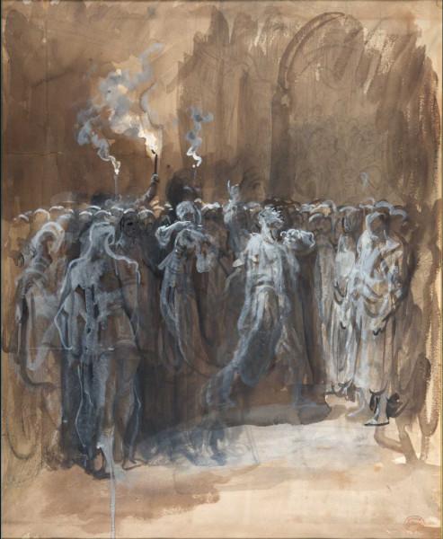 Illustration d'une scène du Macbeth de Shakespeare Lavis d'encre de Chine rehaussé de gouache sur fond bistre, 58 x 40 cm Strasbourg, Musée d'Art mod…