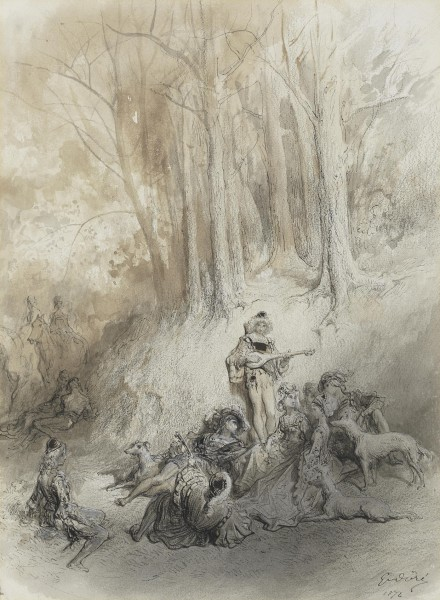 In a woodland pen and ink, charcoal, wash and bodycolour 33 x 24cm pc.jpg
