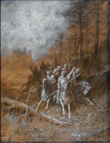 La marche des chevaliers Encre, lavis et rehauts de gouache, 1867.jpg