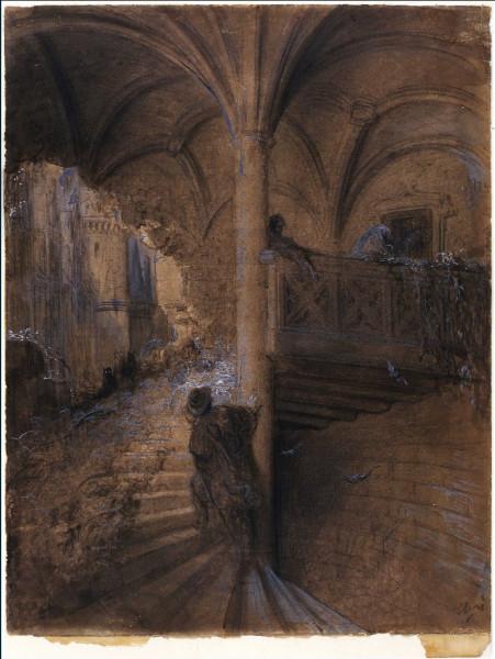 Le château enchanté  vers 1867-1869 Lavis, plume et encre brune, crayon, estompe et rehauts de gouache blanche, 42,5 x 33 cm Strasbourg, Musée d'Art …