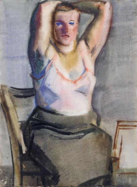 Sitzende Schwangere im Hemd 1958 wc65,8 x 47,9.jpg