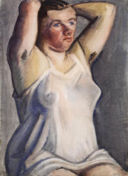 Sitzende Schwangere im Hemd 1958 wc 65,8 x 47,9.jpg