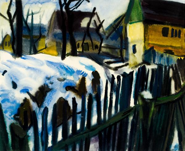 Die obere Gasse mit Zaun Aquarell 1973. 490 x 600.jpg