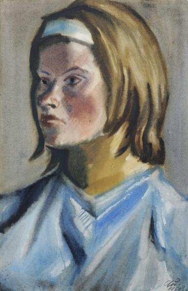 Bildnis Inge Auxel mit bl Haarband1960s 48,5x31,5.jpg