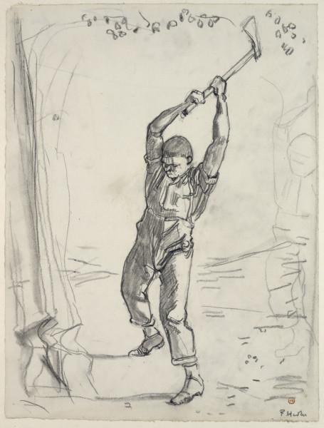 Der Holzfäller 1910 Bleistift, gewischt 43,7 x 33,4 cm galeria albertina.jpg