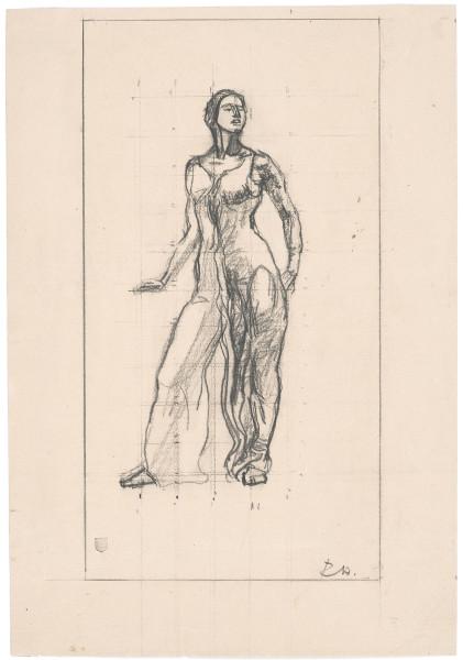 Etude de figure pour Regard dans l'infini. Femme debout, 1913 - 1915 crayon de graphite sur papier crème 357 x 246 mm MAH.JPG