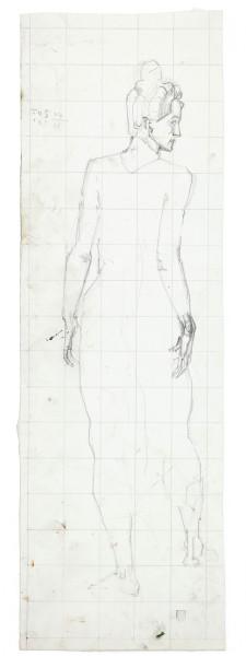 étude pour Le jeune homme admiré des femmes vers 1903 crayon de graphite sur papier 443 x 142 mm MAH.JPG