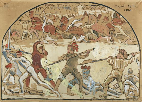 DIE SCHLACHT BEI MURTEN, 1915 BATTLE OF MURTEN, 1915 Aquarell und Gouache auf Papier  86 x 119 cm.jpg