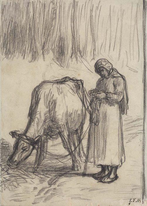Girl Tending a Cow ab 52-531
