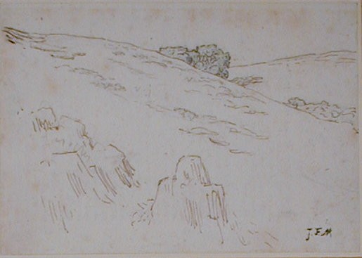 Hillside with foreground Rocks and a Clump of Trees, upper centre
