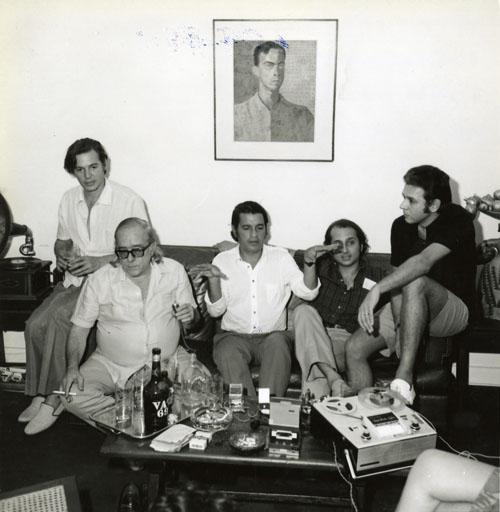 Antonio Carlos Jobim, Vinicius de Moraes, Ronaldo Bôscoli, Roberto Menescal e Carlos Lyra 1971