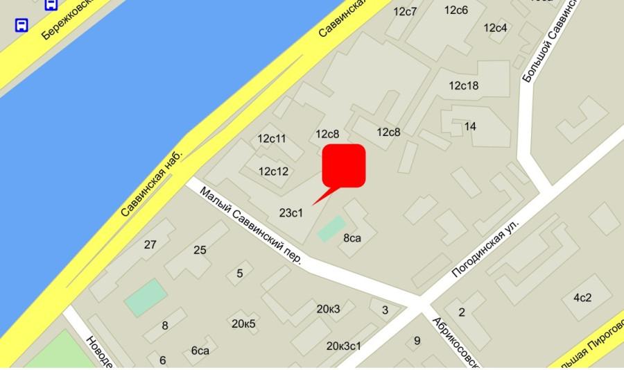 карта проезда Б.Саввинский переулок