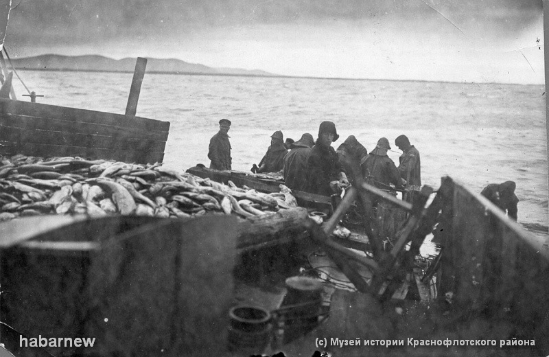 Заготовка рыбы на борту авиаматки Амур1