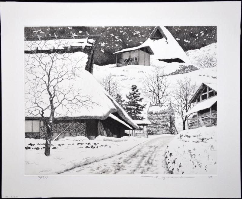 Гравюра Танаки Рёхэя «Деревня в снегу»