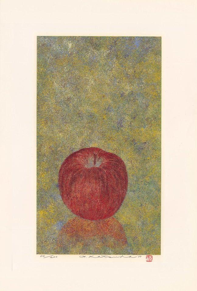 Гравюра Кацуда Юкио «Зимнее яблоко» (1988 год)