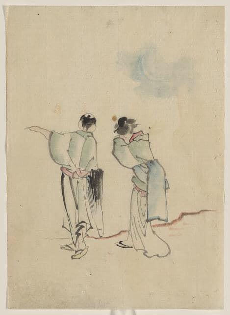 Кацусика ХокусайМежду 1830-1850 годами. Мужчина и женщина, нарисованные со спины. Мужчина показывает на что-то левой рукой, а в правой держит зонтик от солнца. Женщина закрыла лицо руками. Непонятно она всматривается вдаль или плачет