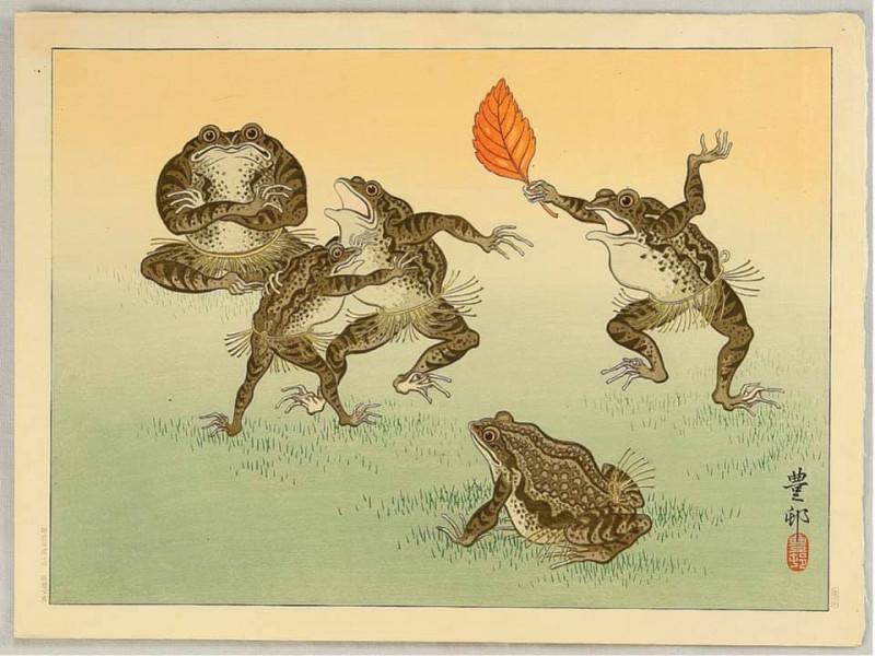 Гравюра «Лягушачье сумо», художник Охара Косон (1877-1945)