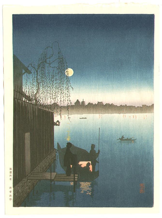 Кобаяси Эйдзиро. «Ночная прохлада на реке Сумиде», 1930 г