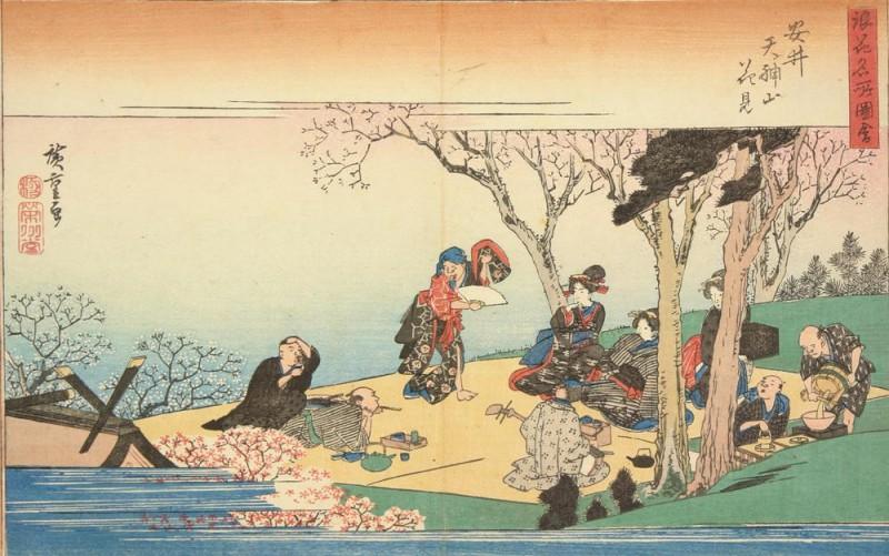 Утагава Хиросигэ (1835 г), любование цветами на горе Тэндзин