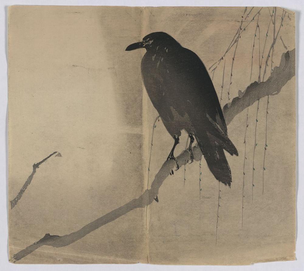 Ворон на ветке ивы. Неизвестный мастер, около 1868 года