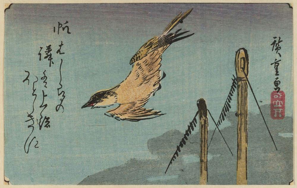 Утагава Хиросигэ. Кукушка, летящая над мачтами корабля, 1830-е годы