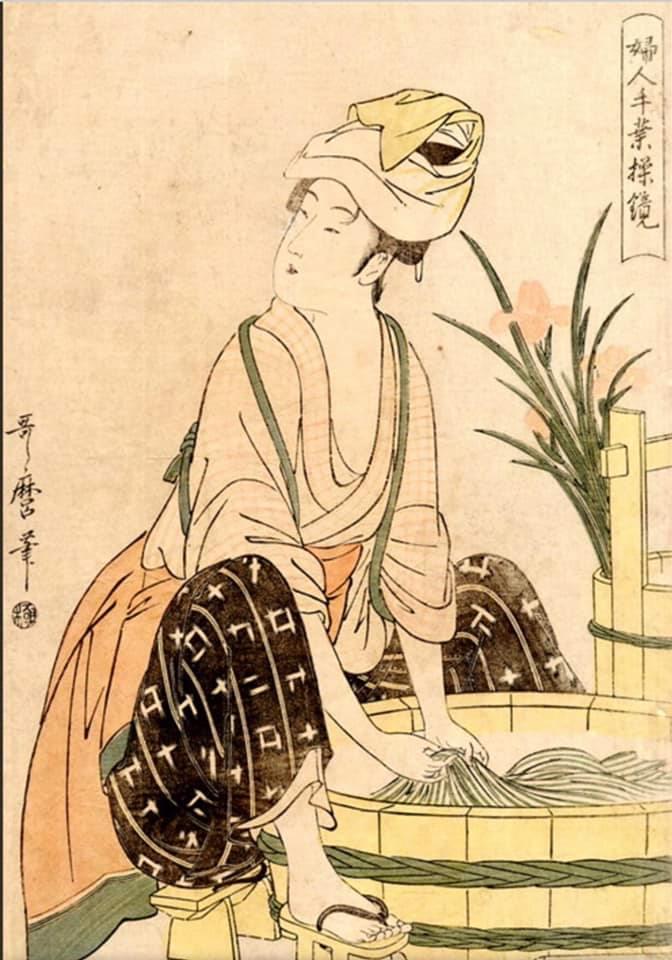 Китагава Утамаро, «Стирка», 1790 год. Здесь стирает женщина, гравюру со стирающим мужчиной найти не удалось