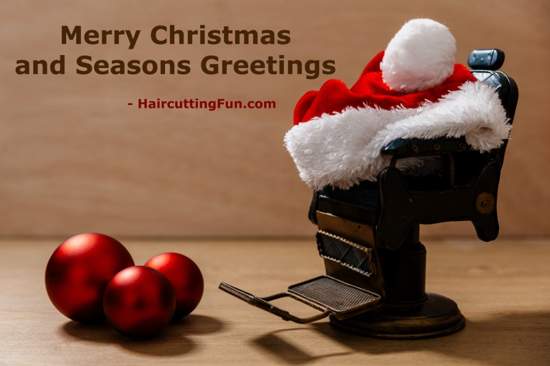 Barber chair with a Santa hat greeting card