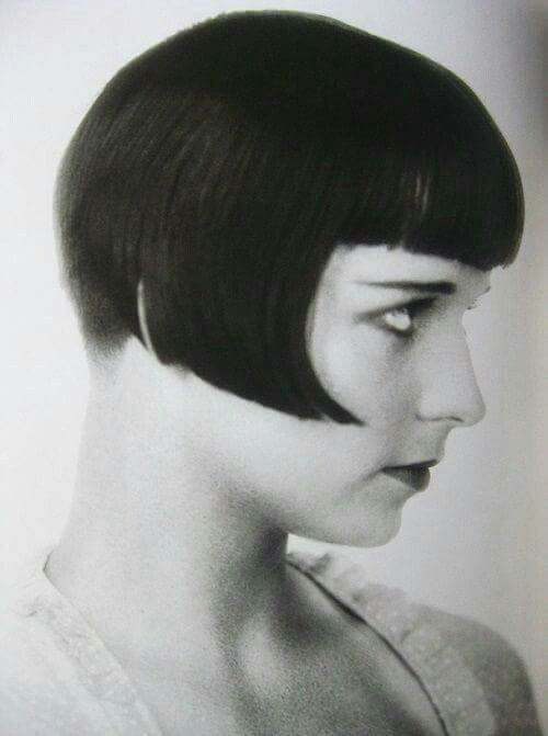 Louise Brooks with a bob hairstyle