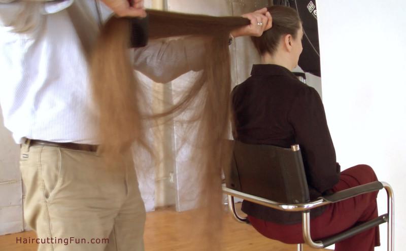 Debbie having her hair brushed