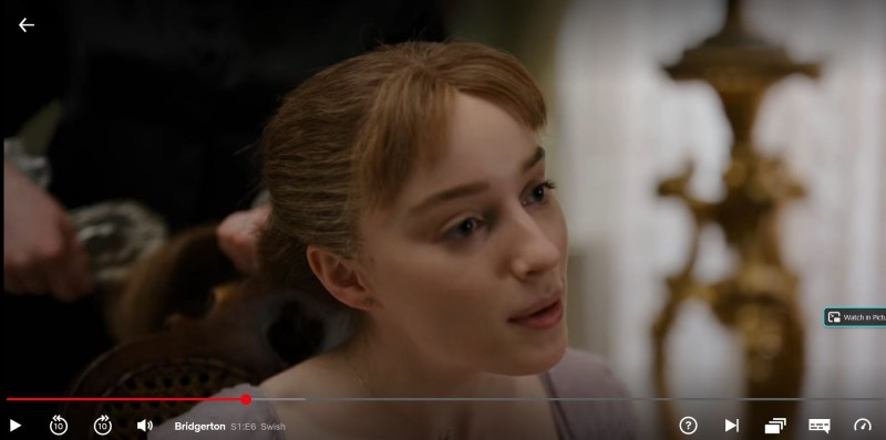 """Screen shot of Daphne's maid brushing her hair with a brush in Season 1, Episode 6, """"Swish"""""""