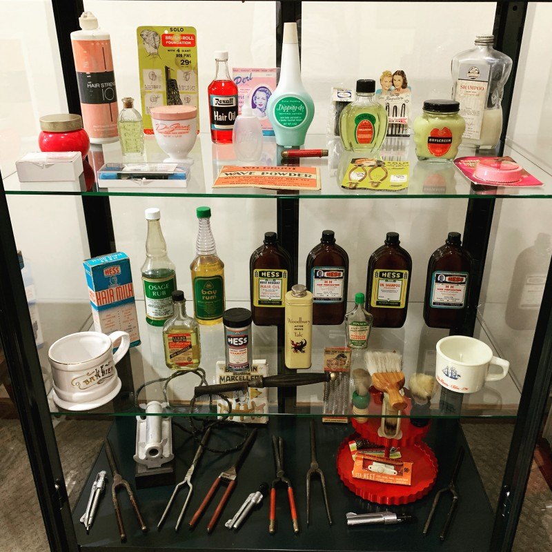 Many old hair salon and barbershop hair products, tools, and other hair delights