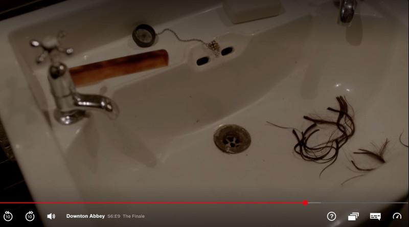 Daisy's hair in the bathroom sink