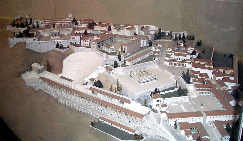 A model of the acropolis of the ancient Greek city of Pergamon, showing the situation in the 2nd century AD, by Hans Schleif (1902-1945)