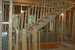Log Stairs & Railings