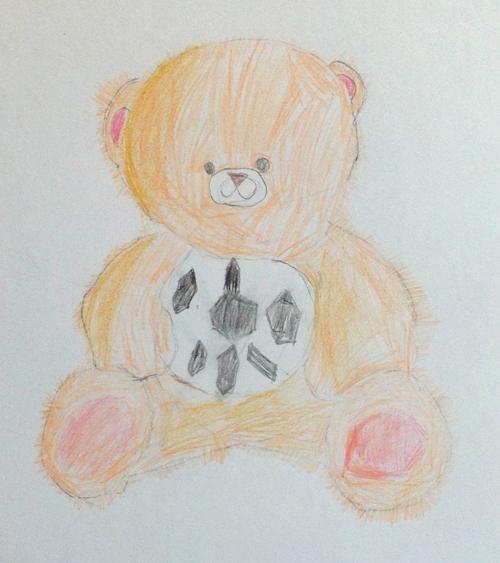 «Медвежонок футболист». Рисование с натуры. Цветные карандаши. Лиза, 5 лет.