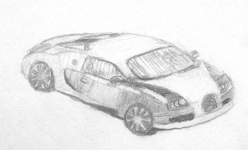 «Машина». Рисование с натуры. Простые карандаши. Андрей, 13 лет.