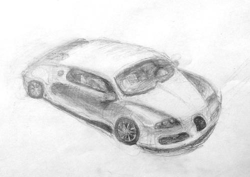 «Машина». Рисование с натуры. Простые карандаши. Даша, 14 лет.