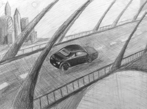 «Машина». Рисование с натуры. Простые карандаши. Полина, 15 лет.