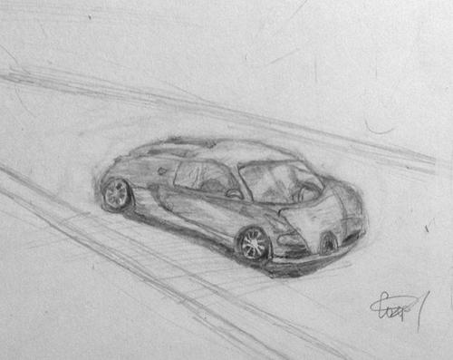 «Машина». Рисование с натуры. Простые карандаши. Соня, 13 лет.