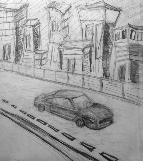 «Машина». Рисование с натуры. Простые карандаши. Соня, 14 лет.