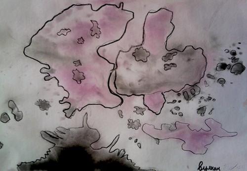 «Вулкан», поиск образов в кляксах. Полина, 7 лет