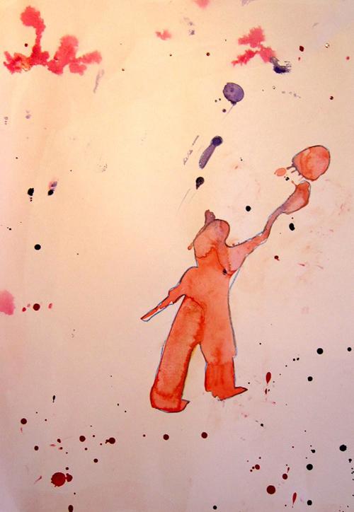 «К луне», кляксография. Настя, 7 лет