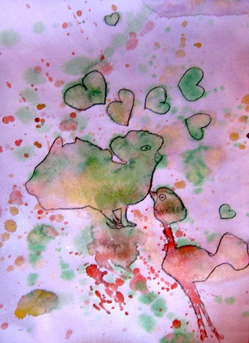 «Любовь в курятнике», кляксография. Алина, 9 лет