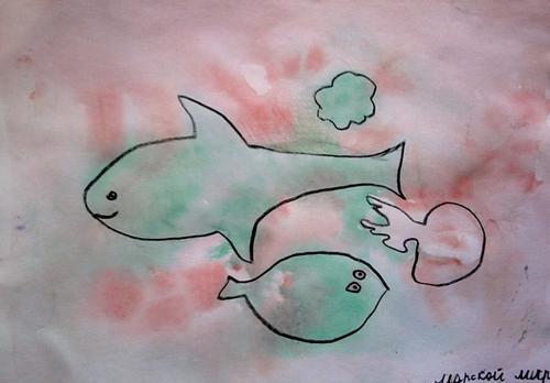 «Подводный мир», поиск образов в кляксах. Полина, 7 лет