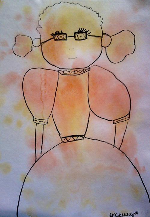«Ученица», поиск образов в кляксах. Полина, 7 лет