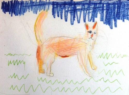 «Кот». Рисование с натуры. Цветные карандаши. Агния, 5 лет.