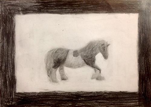 «Конь». Рисование с натуры. Простой карандаш. Дима, 11 лет.