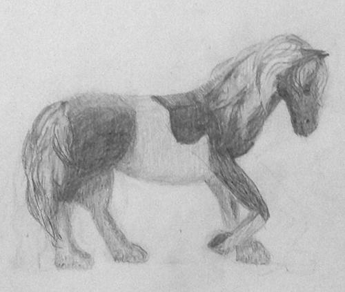 «Лошадь». Рисование с натуры. Простые карандаши. Катя, 13 лет.