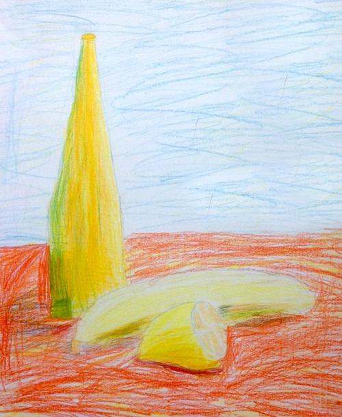 «Желтый натюрморт». Рисование с натуры. Цветные карандаши. Аня, 6 лет.