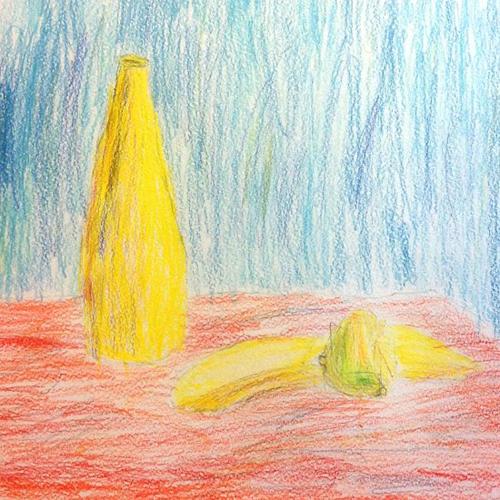 «Желтый натюрморт». Рисование с натуры. Цветные карандаши. Лена, 5 лет.